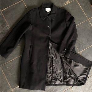 Women's black long wool coat